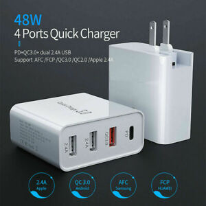 Multi-Port 48W PD USB-C Fast Wall Plug Quick Charger QC3.0 Adapter For iPhone 13