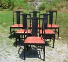 Antique T Back Dark Wood Carved Set of 6 Dining Chairs