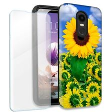 Sunflowers Double Layer Case w/Tempered Glass Protector For LG Stylo 4