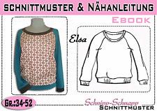 "Raglan Shirt ""Elsa"" pdf.Schnittmuster und Nähanleitung Gr.:34-52"