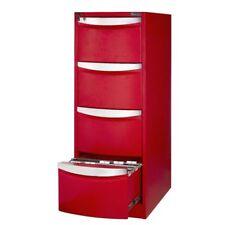 J.Burrows Stilford 4 Drawer Metal Filing Cabinet - Red