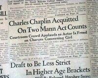 CHARLIE CHAPLIN Mann Act Joan Barry ACQUITTAL World War II 1944 WWII Newspaper
