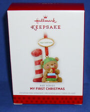 Hallmark Ornament Child Baby's My First Christmas Bear Personalize Year Sticker