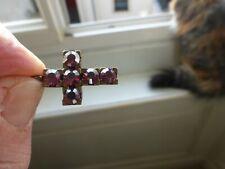 vintage 1 pendentif Croix laiton à cabochon swarovski rose fuschia