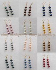 8mm Multi-color South Sea Shell Pearl Round Beaded Gold Plated Hook Earrings