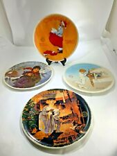 Four Vintage Norman Rockwell Christmas Collectors Plates 1979,1980,1982,1990