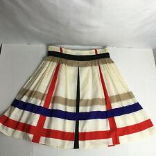 Kennith Cole Reaction Cream,Red,Blue&Tan Color Block Knee Length Zip Sz 10 Skirt