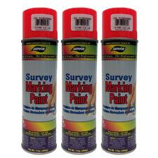 Aervoe Survey Grade Fluorescent Red/Orange Inverted Marking Paint - 3 Cans
