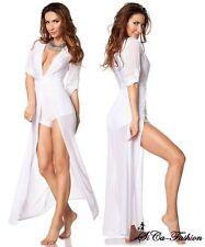 Bodenlange Damenkleider mit V-Ausschnitt ohne Muster für die Freizeit