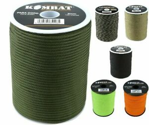 Kombat  100m Para Paracord Cord Rope String 3mm on Reel - Various Colours