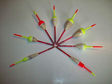 BALSA WOOD BOBBERS CLIP ON VARIOUS SIZES & COLORS BAG OF 8