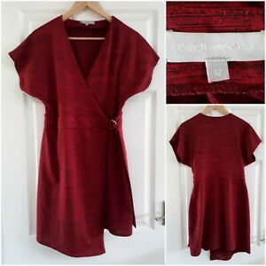 Red Herring Red and Black Wrap Dress Size 12 Short Sleeves Buckle V-Neck Party