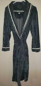 womens LIZ CLAIBORNE plush gray BATH ROBE size large with belt SOFT WARM TRIM