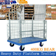 Jumbo Flat Bed Trolley Cart with Folding Wire Mesh Cage Sides Heavy Duty 400KG