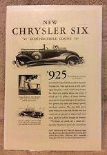 1930 Chrysler Six Convertible Coupe * Original Print Ad * Acid Free Bag & Board