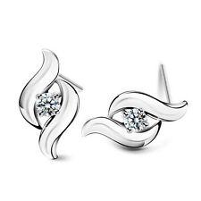 Elegant Shiny Luxury Wave Silver with White Zircon Stud Earrings Studs E902