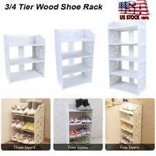 3/4/5 Tiers Shoe Rack Stand Wood Storage Stand Cabinet Organizer Shelf Entryway