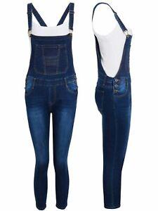 Dungaree Slim Fit Stretch Dark Denim Blue Girls Age 8 10 12 14 16 Years Jeans
