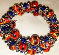 New Memory Wire Wrapped Bracelet  With Red, Blue and Silver Toned Glass Beads
