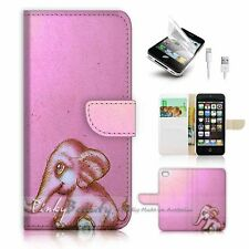 ( For iPhone 5 / 5S / SE ) Wallet Case Cover! P1001 Baby Elephant