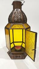 Vintage Moroccan Style Brass Tea Light Candle Holder Lantern Lamp Centerpiece
