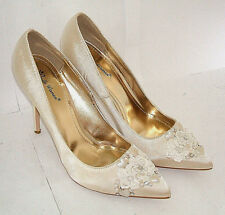 SIZE 8 41 IVORY CREAM HAND CUSTOMISED HEART DIAMANTE PEARL LACE BRIDAL SHOES NEW