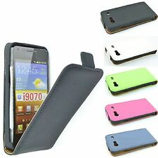 CUSTODIA COVER FLIP CASE PER SAMSUNG I9070 GALAXY S ADVANCE IN ECOPELLE 5 COLORI