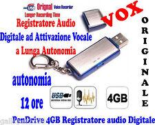 PENDRIVE VOX 4GB REGISTRATORE ATTIVAZIONE VOCALE DIGITALE AUDIO AUTONOMIA 12 ORE