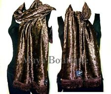 CHOCOLATE BROWN CRUSHED VELVET SCARF MAYA MATAZARO MADE IN USA