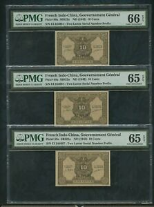 1942 French Indo-china, Pick# 89a  10 Cents  PMG 65,66 EPQ (3 notes same number)