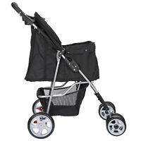 Dog Stroller Pet Travel Carriage 4 Wheeler w/Foldable Carrier Cart &Cup Holder