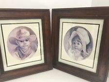 Home Interiors Western Boy Girl Framed Prints 13.5x15.5 Miller Pioneer Set Of 2