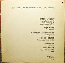 Anton Webern Nono Karlheinz Stockhausen Pierre Boulez LP - Musique Contemporaine