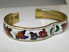 Vintage White Floral Cloisonné Enamel Butterfly Bangle Bracelet Push In Clasp
