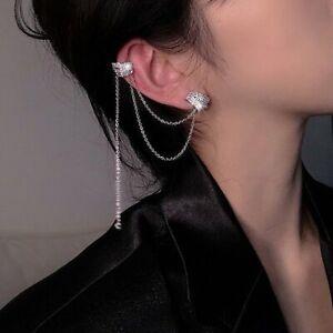 925 Silver Crystal Tassel Earrings Ear Clip Cuff Stud Chain Woman Jewelry Gift