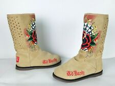Don Ed Hardy Womens Boots Sz 7 Suede Fur Lined Rose Graphics Studded Cream