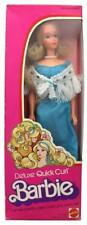 Vintage 1975 Deluxe Quick Curl Barbie Doll Blue Dress Mattel #9217 NIB