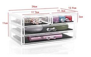 4 Drawer Cosmetic Organiser Desktop Table Clear Acrylic Make Up Holder Storage