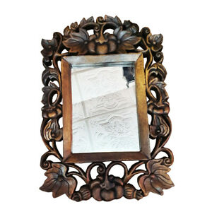 Vintage Style Wooden Mirror Frame Hand Carved Pumklin Wall Mounth Home Decor