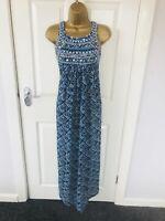 Blue MONSOON Summer Patterned Embroidered Embellished Evening Maxi Dress £55