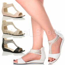 Women's Synthetic Leather T Bars Wedge Sandals & Beach Shoes