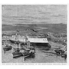 Bilbao lanzamiento del crucero la Vizcaya-Antiguo impreso 1891