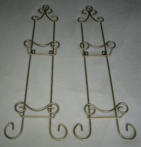 """Set of 2=Wall 2-Plate Display Rack Wrought Iron Gold 27 3/4"""" High x 8 3/4"""" Wide"""