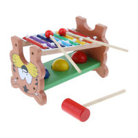 Cute Tiger Wooden Xylophone & Hammer Ball Set Kids Early Learning Music Toy
