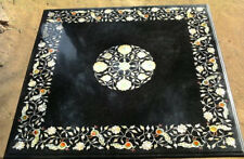 3'x3' square dining coffee Black Marble Table Top Mosaic Inlay Creative Stone