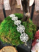 r Bridal Glam Medallion Crystal White Moon Stone Silver Tone Bracelet