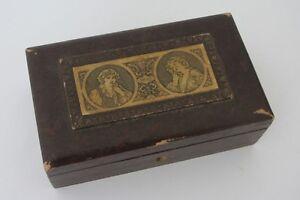 ANCIENNE BOITE A BIJOUX EN CUIR GREUZE COQUETTERIE GRAVURE JEWELLERY BOX
