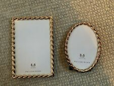 Set of 2 Pottery Barn Silver Plated Rope Twist Motif Picture Frames 4X6 & 3X5