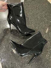 Aldo Black Patent Leather Pointed Toe Heels Boots Booties Size 10 Worn Once EUC
