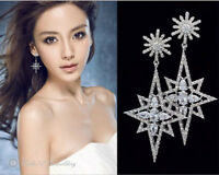 Sterling silver post/Simulated Diamond/Snowflake Dangling Earring/RGE740